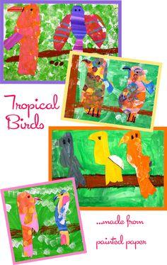 Painted paper tropical birds first grade art projects Deep Space Sparkle, Kindergarten Art, Preschool Art, First Grade Art, Paper Birds, Bible Crafts, Kids Crafts, Tropical Birds, Painted Paper