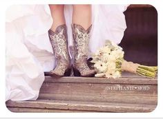 """Nothing says """"I am a laid back country girl!"""" like a pair of cowgirl boots meticulously purchased to match the reception venue."""