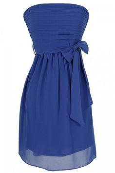 Blue Moon Tiered Strapless Chiffon Dress