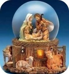 Italian nativity Ornate snow globe
