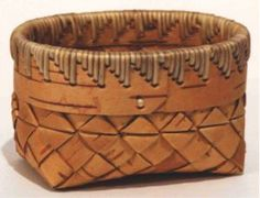 10. Oval Birch Bark Basket Stitched with Spruce Roots