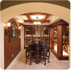 idea of enclosing half the room even if it wasn't a wine cellar