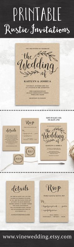 Ideas Wedding Ideas Invitations Diy Etsy For 2019 Photo Wedding Invitations, Rustic Invitations, Printable Wedding Invitations, Wedding Stationary, Wedding Invites Lace, Wedding Invitation Rsvp Wording, Wedding Favors, Wedding Cake, Original Wedding Invitations