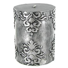 "Add a touch of ambiance to your home or office with this beautiful 3"" x 4"" Antique Silver Damask Pillar Candle.  $13.95"