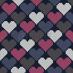 Seamless pattern with hearts of squares for textiles, interior design, for book … - Tapeten ideen Cross Stitch Heart, Cross Stitch Borders, Cross Stitch Designs, Cross Stitching, Cross Stitch Embroidery, Cross Stitch Patterns, Tapestry Crochet Patterns, Weaving Patterns, Knitting Charts