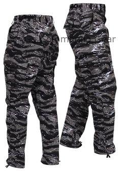 Men's Urban Tiger Stripe Camo BDU Pants - Military Tactical Uniform Style Pants Men's Urban Tiger Stripe Camo Pants Sizes: XS - 2XL Material: 55% Cotton / 45% P