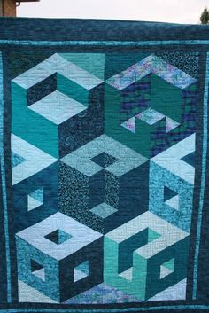 Turquoise Cubic Designer Modern Lap Quilt by FizzPopQuilts on Etsy Our Entry into the June for July Quilt of the Month Contest! Tumbling Blocks Quilt, Big Block Quilts, 3d Quilts, Star Quilts, Mini Quilts, Applique Quilts, Quilt Blocks, Patchwork Quilting, Baby Quilts