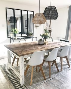 minimalist home decor living room interior design Living Room Decor Cozy, Boho Living Room, Interior Design Living Room, Cottage Living, Bedroom Decor, Wall Decor, Dining Room Design, Dining Room Table, Wooden Dining Tables