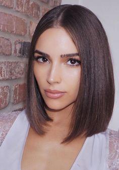 Olivia Culpo blunt short hair cut and straight sleeky hair style #oliviaculpo