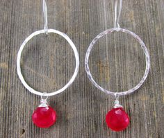 Hot Pink Chalcedony Dangling Stone Earrings on by TNineDesign