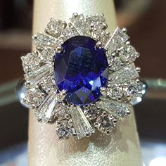 We have a tanzanite extremely similar to this sapphire and diamond ring!