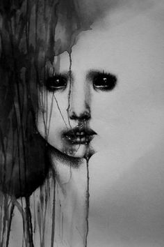 black and white art painting dark horror girl scary blood contemporary art - picslist.com