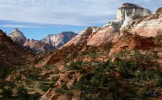 Bridge Mountain, West Temple, and East Temple from left to right, Zion National Park, UT