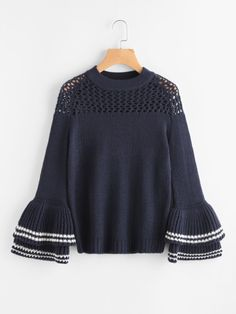 Eyelet Yoke Layered Striped Bell Sleeve Jumper