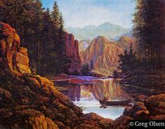 """Paddling Still Waters"" by Greg Olsen"