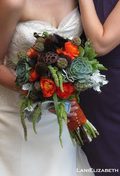 Textural bridal bouquet in brown, orange, and green with lotus pods, scabiosa pods, ranunculus, millet, lambs ear, geranium leaf, succulents and panicum (explosion grass). Wedding florals by Lani Elizabeth Fine Design in Flowers.