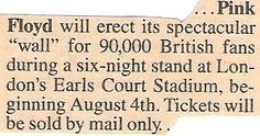 Pink Floyd / Will Erect Spectacular Wall | Magazine Article (1980)