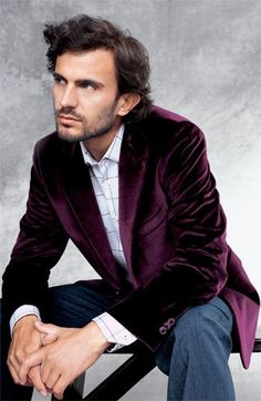 Handsome in Purple Velvet Jacket.