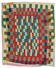 Rebecca Myles Jones - Center medallion—stacked bricks with checkerboard frame - Master Image