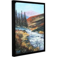 ArtWall Gene Foust Rolling Rapids Gallery-Wrapped Floater-Framed Canvas, Size: 18 x 24, Brown