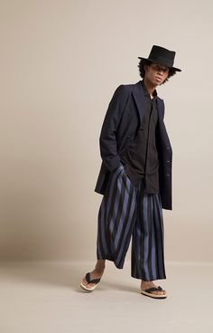 HOMME 2019 S/S Wool Tropical Double Breasted Reefer Jacket Rayon Twill Open-necked Shirt Bold Stripe Shantung Pleated Baggy Pants Bold Stripes, Double Breasted, Normcore, Pants, Jackets, Tropical, Shirts, Style, Fashion