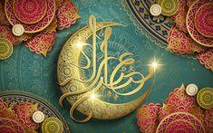 Arabic calligraphy design for Eid Mubarak, with crescent symbol and flower shaped decorations , Ramadan Wallpaper Hd, Wallpaper Ramadhan, Ramadan Mubarak Wallpapers, Holiday Wallpaper, Calligraphy Wallpaper, Allah Wallpaper, Hd Wallpaper, The Last Supper Painting, Holiday Writing