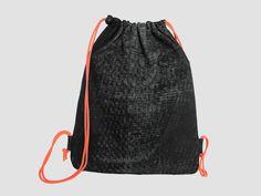 Turnbeutel - Turnbeutel Rucksack LEDER, Neon Kordel, moonwash - ein Designerstück von heydays bei DaWanda