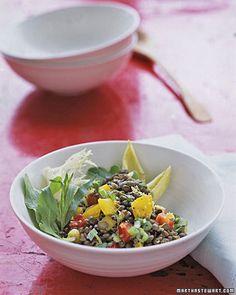 [LEMONY LENTIL SALAD] :: Orange, red or yellow (or a mix) bell peppers, lentils, lemon zest, fresh lemon juice, EVOO, Dijon, dried tarragon, scallions, salt & pepper.