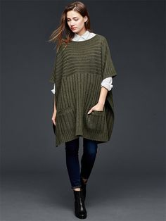 Army Green Short Sleeve Side Splits Sweater #Army_Green #Sweater #Fashion