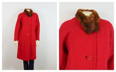 Vintage Coat Hand Tailored Red 50s Coat Big Buttons Real Fur Collar Modern Size by 2sweet4wordsVintage on Etsy