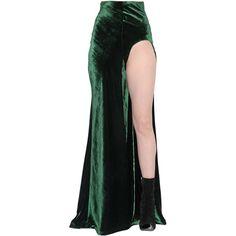 Haider Ackermann Women Velvet Long Skirt With Cutout ($885) ❤ liked on Polyvore featuring skirts, dolls, bottoms, green, long skirts, high rise maxi skirt, velvet maxi skirt, high waisted skirts and green velvet skirt
