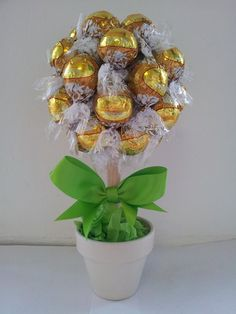 A Small White Chocolate Lindt Lindor Tree made to customer's specification and dressed in green.
