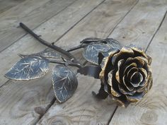 Forged metal rose Steel rose Iron flower от SiberianWroughtIron #Forged #metal…