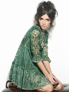 Emerald lace dress + center-parted updo