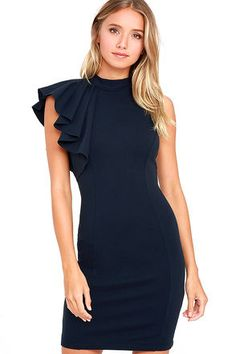 Chic Navy Blue Dress - Ruffle Dress - Bodycon Dress - $56.00