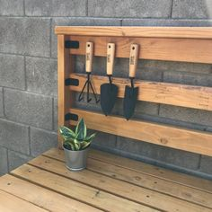 I used extra connector screws to hand my gardening tools! Complete tutorial on potting bench available. Diy Furniture Plans, My Furniture, Painted Furniture, Planting Tools, Garden Tools, Woodworking Projects Diy, Diy Projects, Project Ideas, Shelf Board