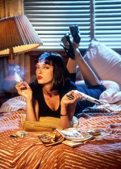 Uma Thurman as Mia Wallace in 'Pulp Fiction', directed by Quentin Tarantino Famous Movie Posters, Famous Movies, Movie Poster Art, Iconic Movies, Good Movies, Art Posters, Poster Frames, Latest Movies, Action Movies