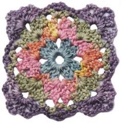 Really love the use of the variegated yarn. I really wish pinners would include the name of the yarn they use when it's something distinctive like this. :-/ Square motifs crochet pattern pdf form. (NCS)