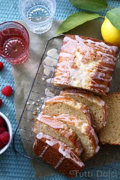 almond tea cake with lemon glaze