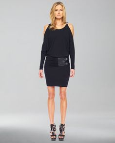 Cold-Shoulder Belted Dress by Michael Kors at Neiman Marcus.