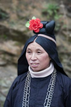 Asia | Hmong woman with traditional headdress and hairstyle #Miao