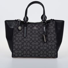 Coach CROSBY CARRYALL Leather and Fabric Signature Tote ($285) ❤ liked on Polyvore featuring bags, handbags, tote bags, black, coach purses, leather tote handbags, leather handbags, leather handbag tote and leather tote