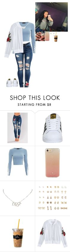 """""""Untitled #428"""" by bxbygirlslays ❤ liked on Polyvore featuring adidas, Topshop, Kate Spade, Christian Dior, Forever 21 and Keurig"""