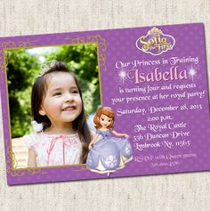 Sofia the First Invitation - Custom Photo Printable Design - Sofia The First Disney Party
