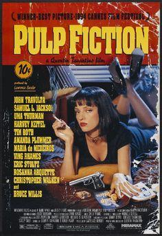 Pulp Fiction 1994 Movie Poster Used Collectors Edition Rare Quentin Tarantino Film, Uma Thurman, Bruce Willis, Eric Stoltz, Christopher Walken What would Be You Best Movie Of All Time? Fiction Movies, Pul Fiction, Fiction Quotes, Fiction Writing, Film Quotes, Best Movie Posters, Classic Movie Posters, Classic Films, Vintage Movies