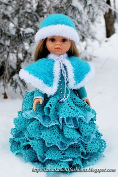 KasatkaDollsFashions: Наряд Снегурочка для кукол Паола Рейна 32 см