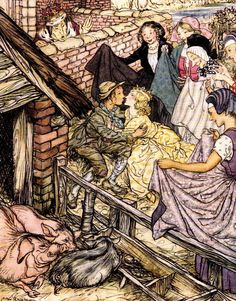 Just as the swineherd was taking the eighty-sixth kiss; The Swineherd - Fairy Tales by Hans Andersen, illustrated by Arthur Rackham, 1932 Arthur Rackham, Andersen's Fairy Tales, Morris, Great Love Stories, Hans Christian, Children's Book Illustration, Book Illustrations, Illustrators, Image