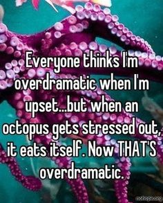 Haha see I'm not so over dramatic in comparison to an Octopus ;p