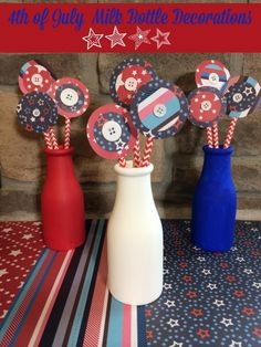 4th of July Milk Bottle Decorations