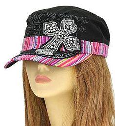 Black Aztec Print Cross Cadet Hat - Handbags, Bling & More!